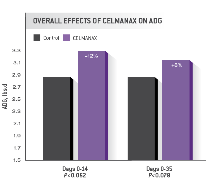 Overall Effects of CELMANAX on ADG Chart