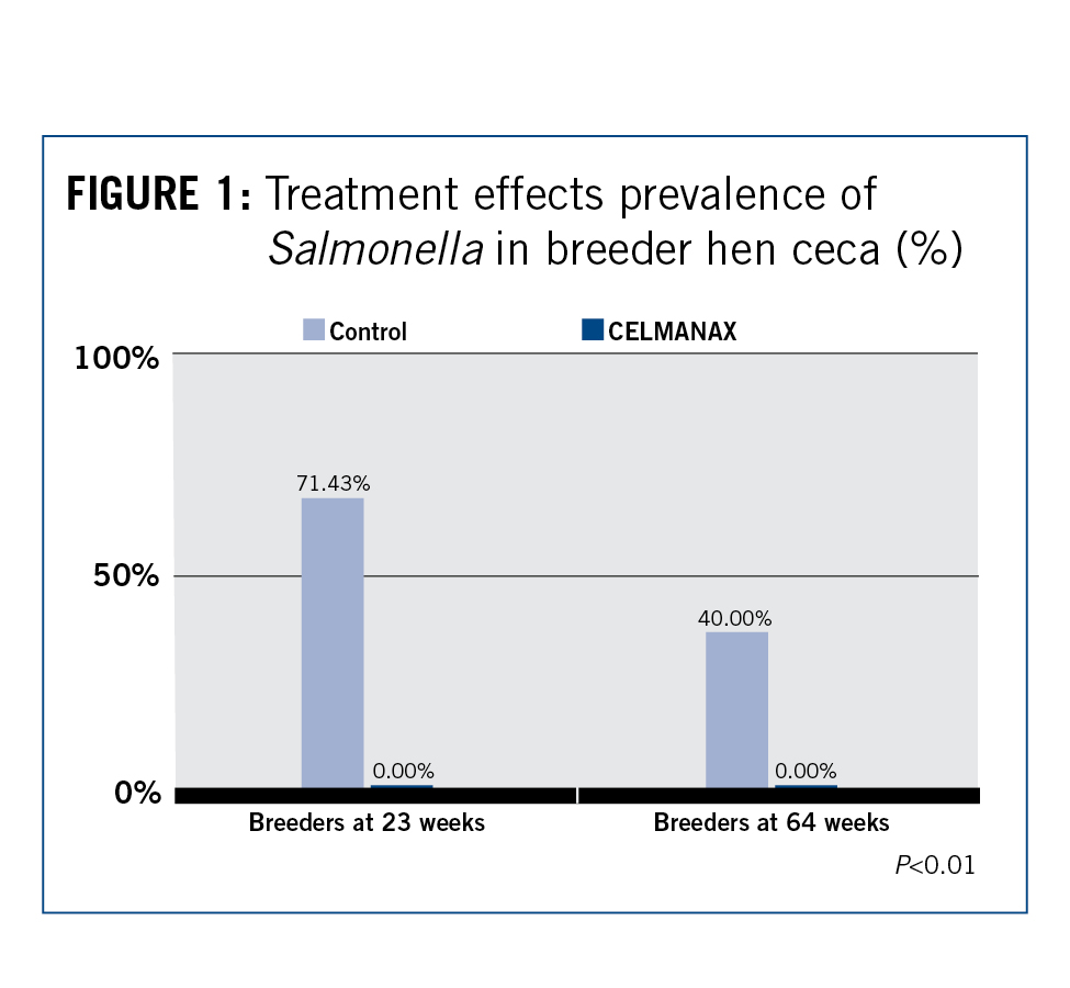 Treatment effects prevalence of Salmonella in breeder hen ceca Chart