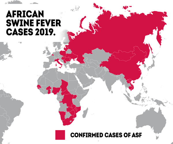 Map of African Swine Fever Outbreaks June 2018 - July 2019